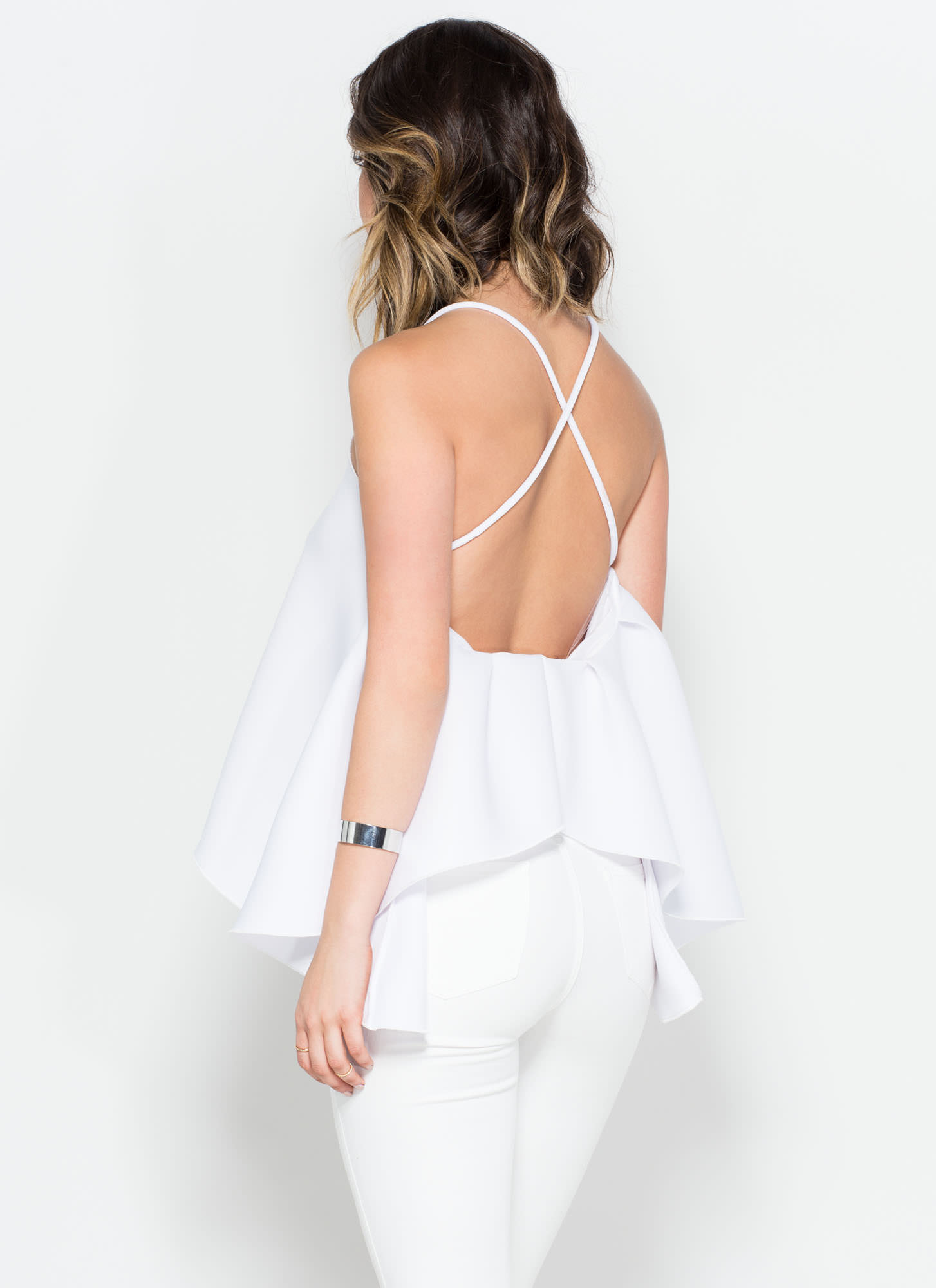Hit The Volume White Trapeze Top