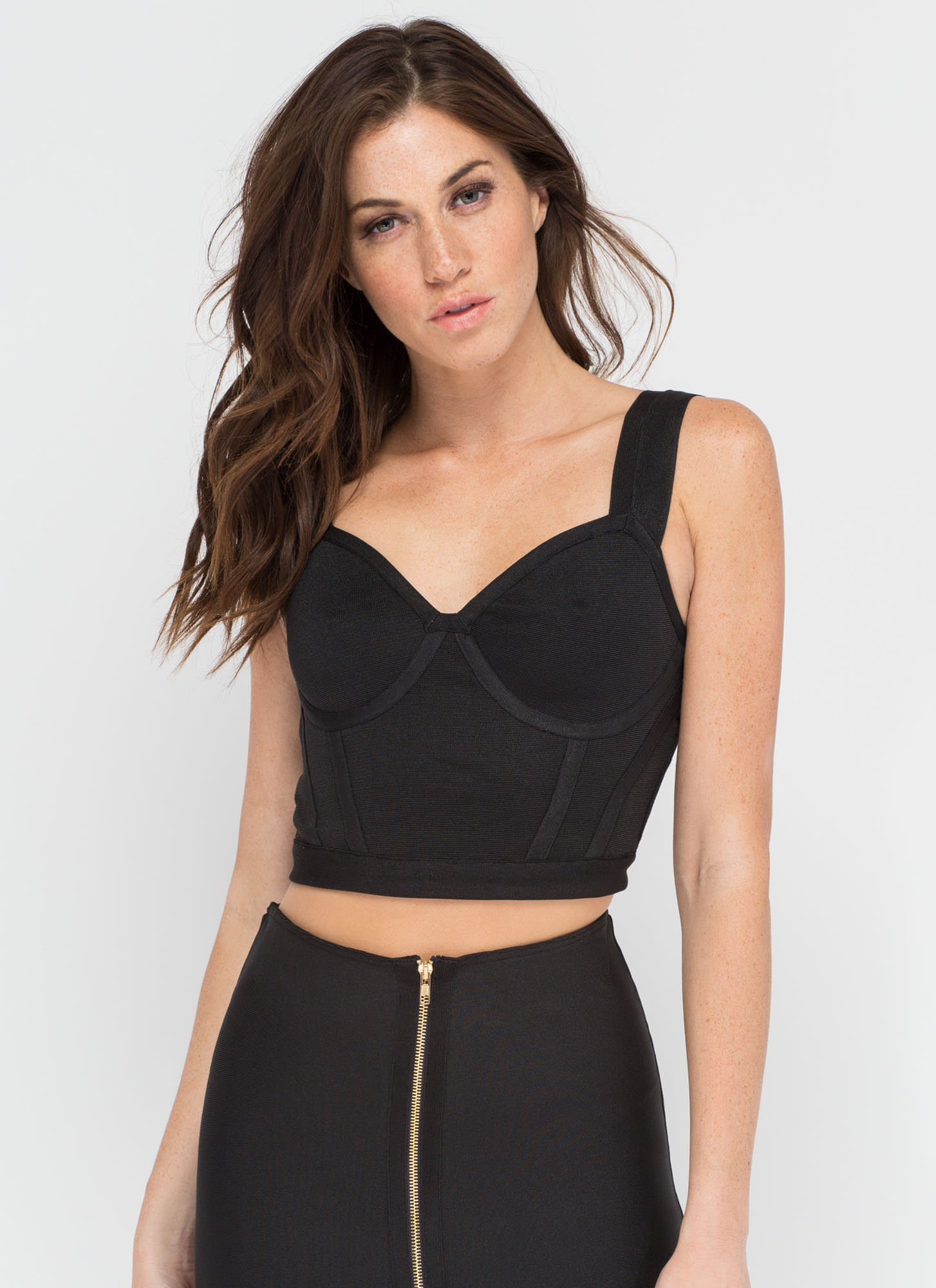 Give It A Bustier Bandage Black Crop Top