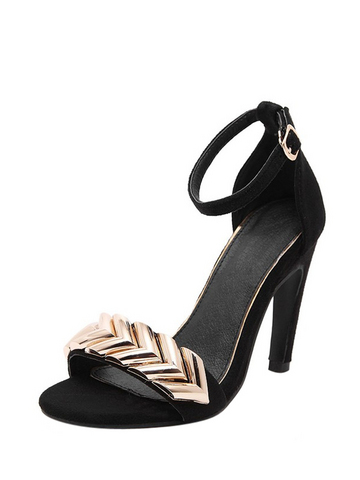 Metallic Ankle Strap Heeled Sandals