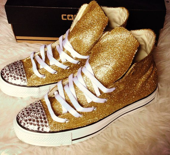 Gold Converse Glitter Rhinestone Shoes