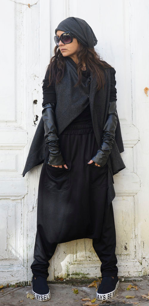 Black Loose Harem Pants