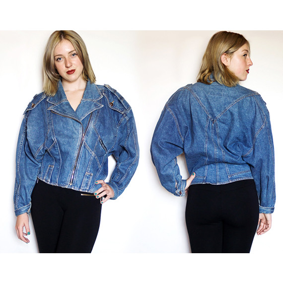 80s Oversized Denim Bomber Jacket