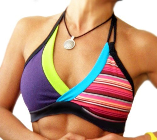 Funky Retro Stripe Halter Sports Bra