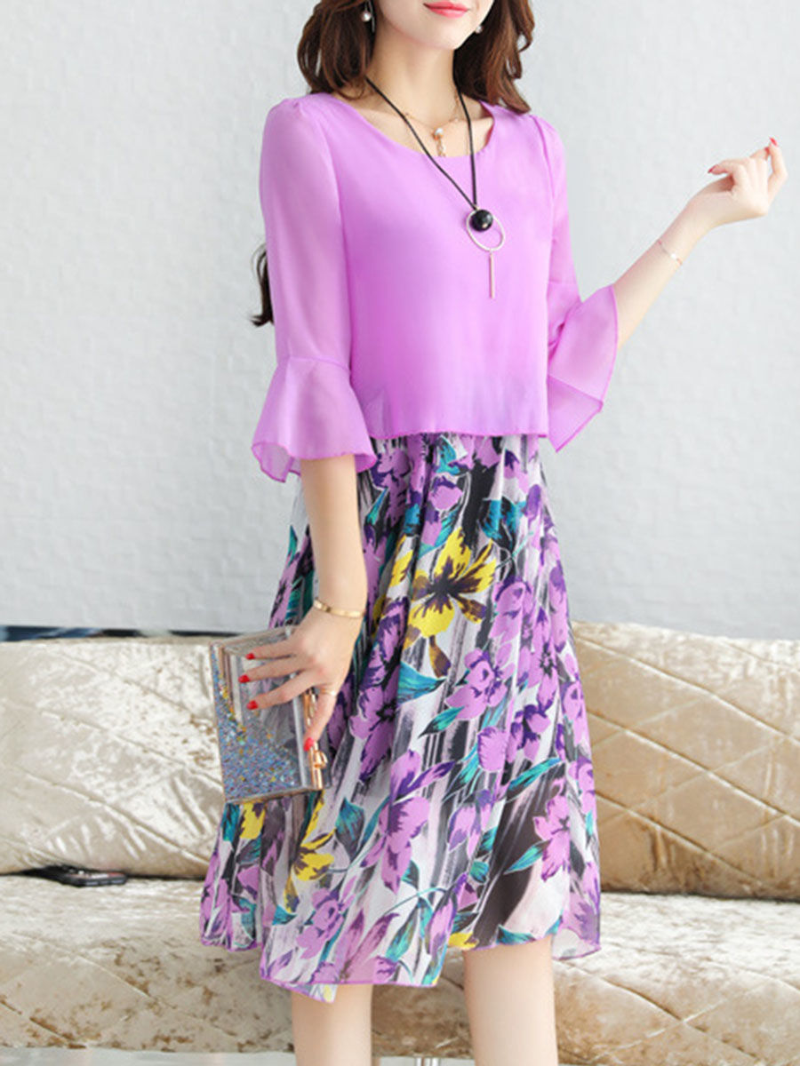 Bell Sleeve Floral Printed Round Neck Chiffon Skater Dress