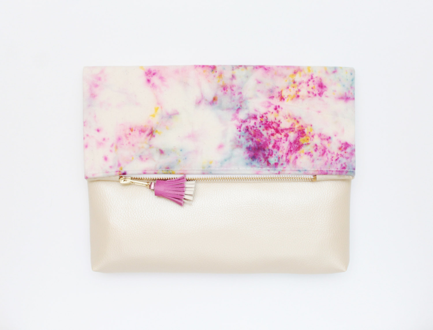 Hand Colored Cotton Clutch Bag