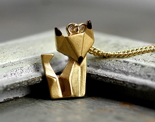 Gold Origami Fox Necklace