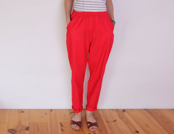 Relaxed Fit Red Pants