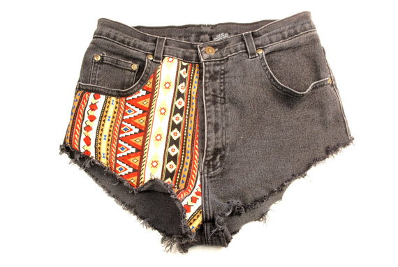 Vintage Tribal Denim Shorts