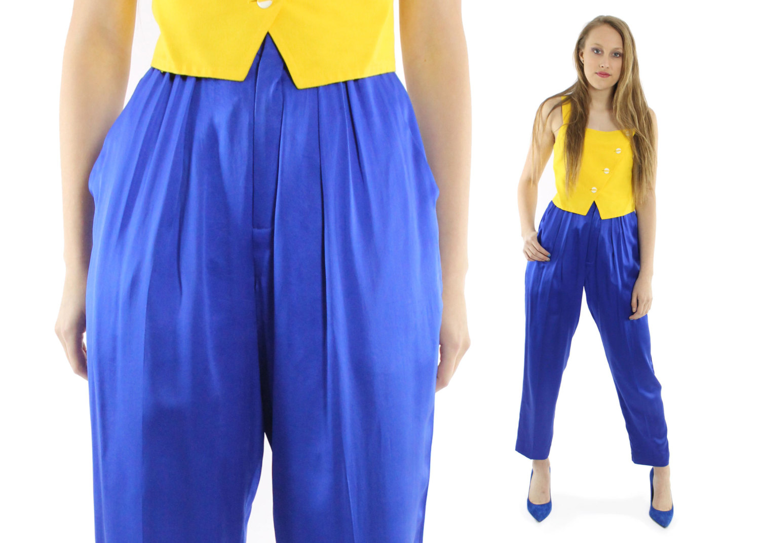 Retro Blue High Waisted Pants