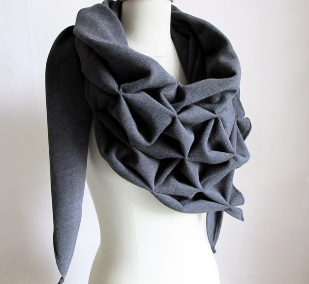 Gray Geometric Wool Scarf