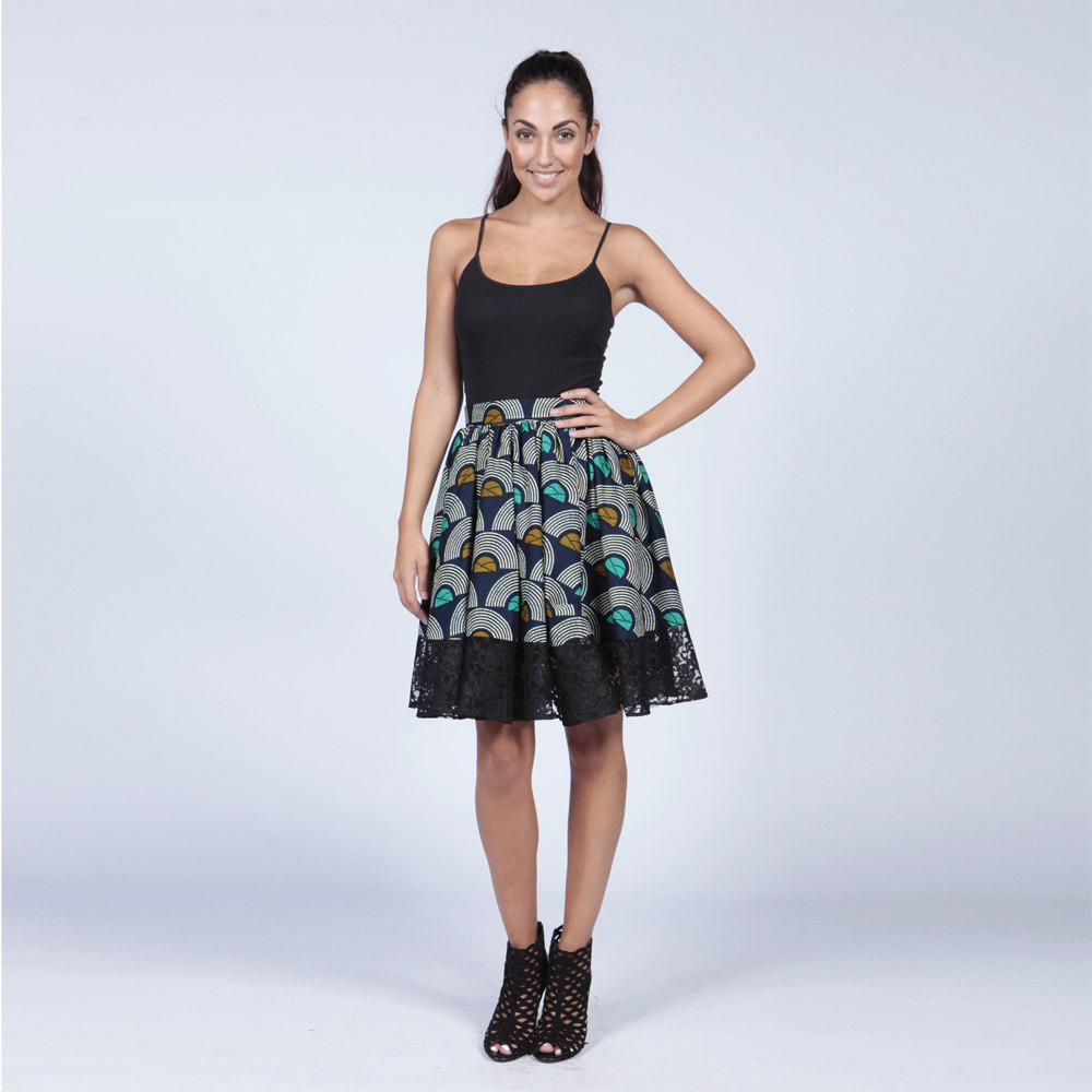 African Wax Print Skirt With Lace