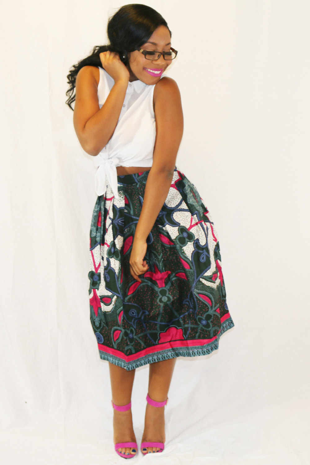 African Print Pleated Midi Skirt