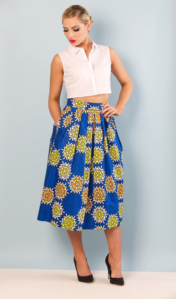 Blue Tribal Midi Skirt