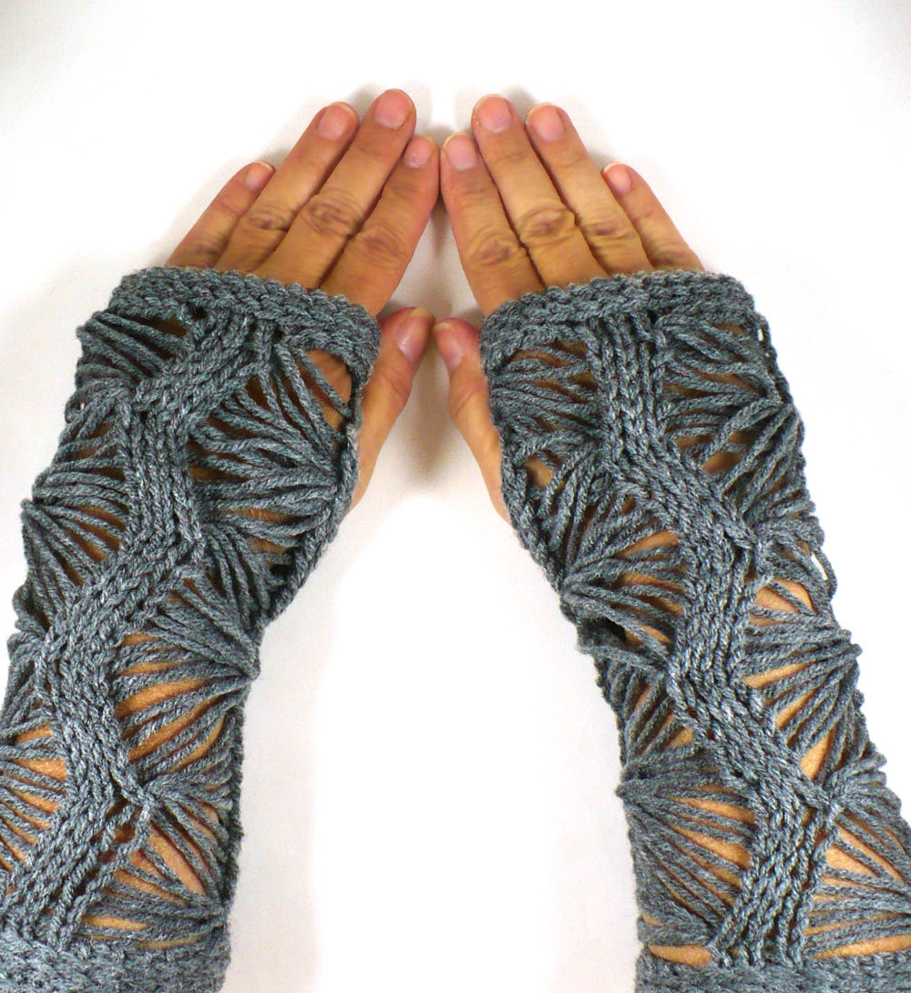 Grey Lace Fingerless Gloves
